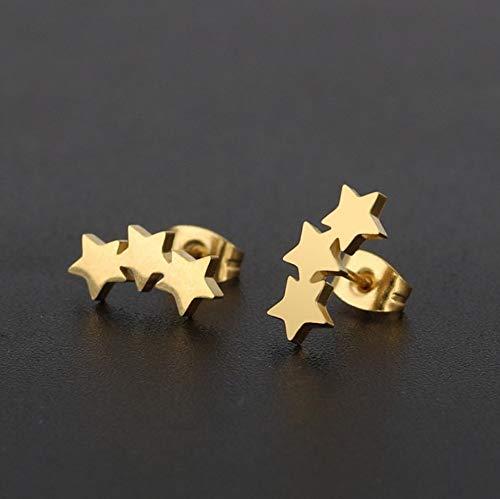 ESCYQ DamenOhrringeOhrsteckerOhrhängerTropfenOhrlinie Golden 3-Sterne Injektionsnadel Aus Rostfreiem Stahl Ohrringe Einfache Persönlichkeit Mode Frauen Ohrringe Ohrringe