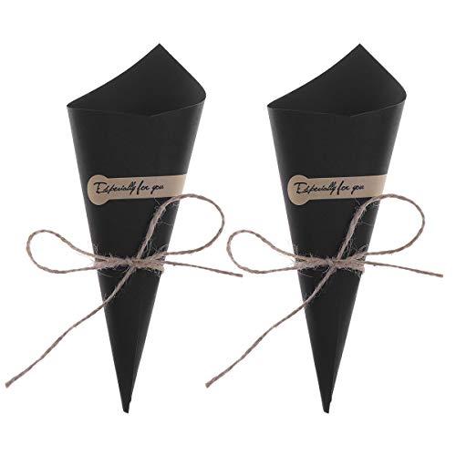 Amosfun 50 stks DIY Bruiloft Confetti Kegels Retro Kraft Papier Kegels Boeket Snoep Chocolade Tassen Dozen Bruiloft Party Favour Geschenken Verpakking (Origineel Geel) Zwart