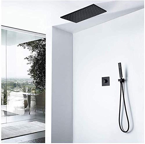 Set de ducha empotrable, juego de ducha LED caliente y fría oculta, juego de ducha termostático empotrable, montaje en pared, rectángulo negro