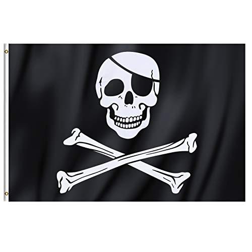 TRIXES Große Piratenflagge Jolly Rodger im Totenkopfdesign mit Ringösen zum Aufhängen 90x150cm für Partys Demos Hausbesetzungen und vieles mehr