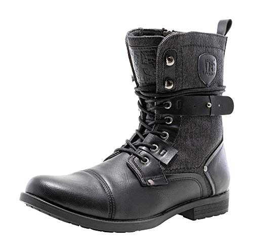J75 by Jump Men's Deploy Stylish   Light Weight   Mid-calf   Cap-toe   Lace-up & Inside Zipper   Combat   Tactical   Army   Police   Military Boots for Men