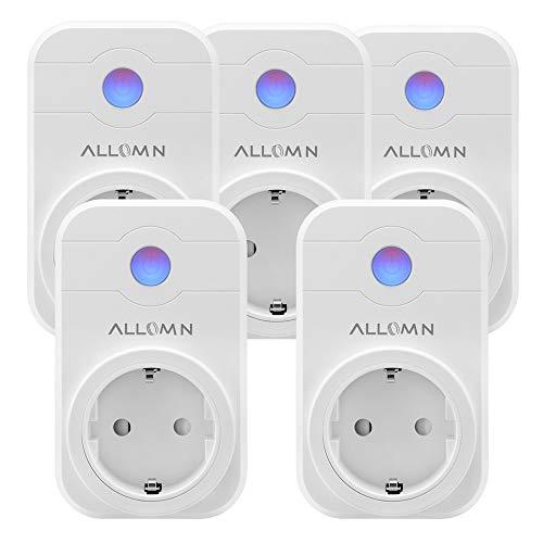 Smart Steckdose WLAN Kabellos Kompatibel mit AMAZON Alexa (Echo, Echo Dot) Stimme/Fernbedienung/Timer APP Steuerung Steckdose für Android iOS Smartphone (Set von 5 Stück)