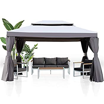 Grand patio 10x13 Feet Patio Gazebo Outdoor Canopy with Mosquito Netting and Shade Curtains,Sturdy Straight Leg Tent for Backyard & Party & Event