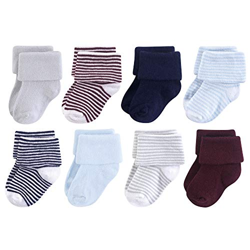 Luvable Friends Baby Fun Essential Socks, Navy Light Blue, 6-12 Months
