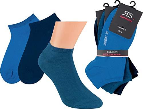 by Riese 9 Paar Sneaker Socken für Damen & Herren sehr gute Qualität mir Komfortrand (blau) (35/38)