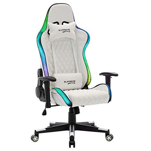 IDIMEX Chaise de Bureau Gaming Legend avec éclairage LED Fauteuil Gamer Ergonomique pivotant, siège à roulettes avec Dossier inclinable et Coussins, revêtement synthétique Blanc