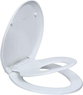 Elongated Toilet Seats with Built in Potty Training Seat, Magnetic Kids Seat and Cover, Slow Close, Fits both Adult and Child, Plastic, White