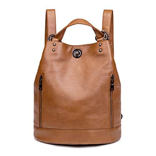 Tisdaini® Bolsos Mochila Mujer moda casual viaje Retro Bolsos de mano mochila Marrón
