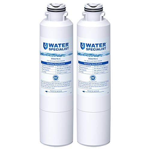 Waterspecialist DA29-00020B Refrigerator Water Filter, Replacement for Samsung HAF-CIN, HAF-CIN/EXP, DA29-00020A/B, DA97-08006A, DA2900020B, RF28HMEDBSR, RF4287HARS, 2 Filters, Package may vary