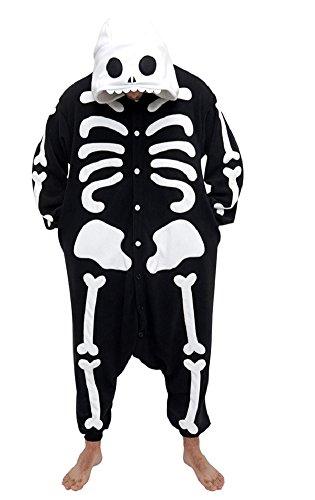 Anbelarui Tier Skelett Pinguin Dinosaurier Panda Einhorn Kostüm Damen Herren Pyjama Jumpsuit Nachtwäsche Halloween Karneval Fasching Cosplay Kleidung S/M/L/XL (L, Skelett)