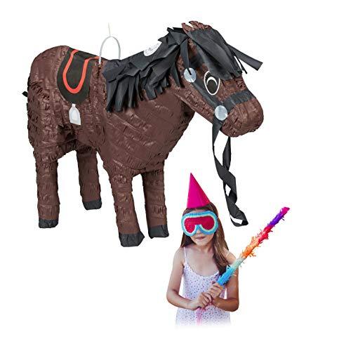 Relaxdays Pinata Pferd, Tierpinata für Kinder, zum selbst Befüllen, Geburtstag, Einschulung, Schlagpinata Pony, braun
