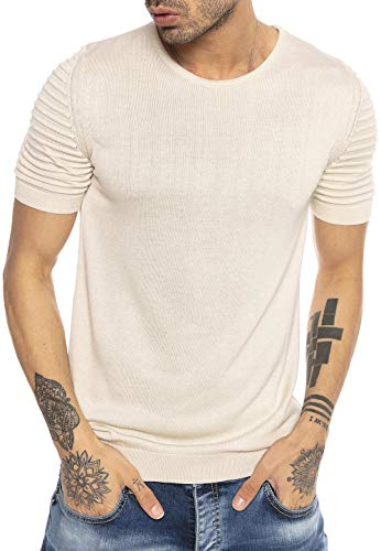 Redbridge Maglietta Casual Uomo a Maniche Corte e Spalle a Coste Beige XL