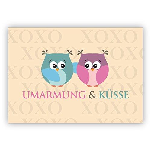 Schattige uilen wenskaart voor familie en vrienden, ook voor Kerstmis: omarming & kussen • kerstwenskaarten set met envelop voor het feest van de liefde, als cadeaukaart voor familie en vrienden 10 Weihnachtskarten