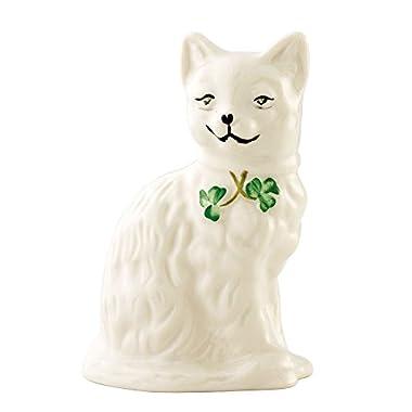 Belleek 2200 Quizzical Cat Figurine, 4.5-Inch, White
