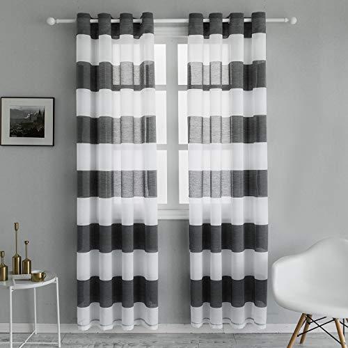 Topfinel Voile Vorhänge mit Ösen Streifen Transparent Gardinen Schlaufenschal für Wohnzimmer Schlafzimmer Kinderzimmer 2er Set je 240x140cm (HxB) Grau