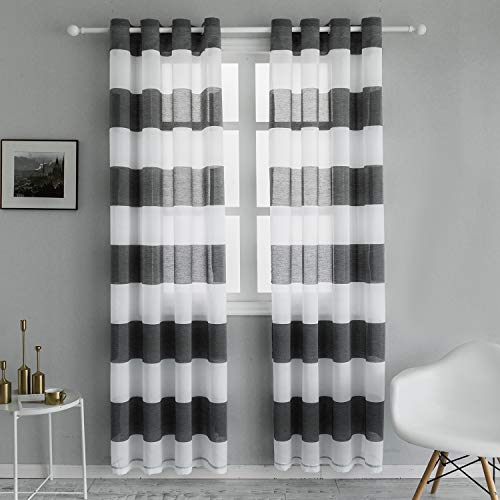 Topfinel Voile Vorhänge mit Ösen Streifen Transparent Gardinen Schlaufenschal für Wohnzimmer Schlafzimmer Kinderzimmer 2er Set je 220x140cm (HxB) Grau