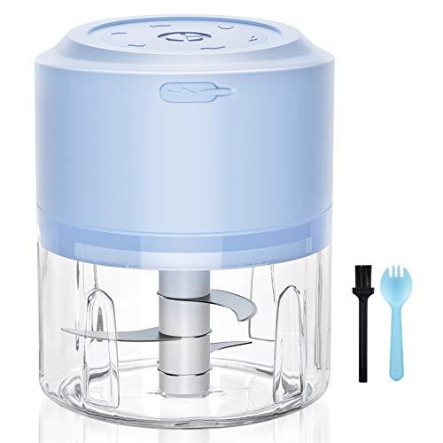 EZCO Tritatutto da Cucina Elettrico, Tritatutto Elettrico Mini USB Ricaricabile, Tritatutto Universale, Tritatutto con Raschietto Multifunzionale per Verdure Alimenti Cipolle Aglio ( Blu )