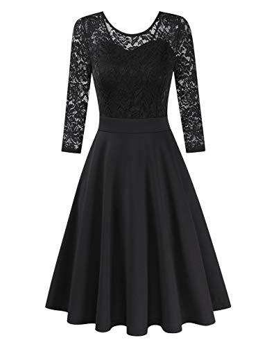 Clearlove Damen Kleider Elegant Spitzenkleid 3/4 Ärmel Cocktailkleid Rundhals Knielang Rockabilly Kleid(Verpackung MEHRWEG), Schwarz-3/4 Ärmel, XL