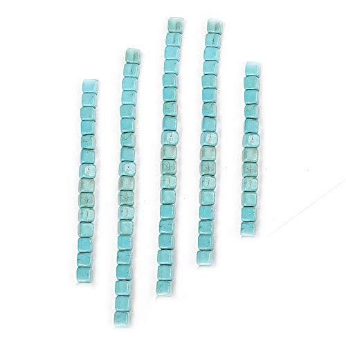 Abalorios de color turquesa para bisutería de mujer, abalorios para manualidades, collares, pulseras, manualidades, 1 hebra, turquesa, Cuadrado, 4mm/90 pieces