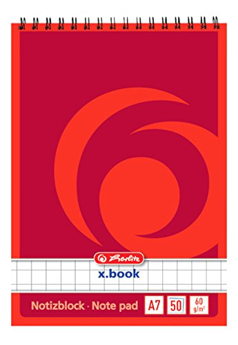 Herlitz 110734 Spiralnotizblock A7, 50 Blatt 10 Stück