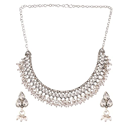 Efulgenz Gargantilla de cristal oxidada india bohemia vintage vintage CZ antiguo collar de perlas Fau pendientes de gota para mujeres y niñas, Metal, desconocido,