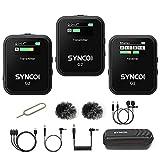 Micro sans Fil Cravate, SYNCO G2(A2) Système de Microphones de Lavalier Wireless 2.4Ghz, 2 Émetteurs & 1 Récepteur pour Caméra, Smartphone, DSLR, Tablettes, Microphone-sans-Fils -Cravate-Lavalier