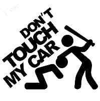 車 ステッカーデカール-警告車のステッカー-私の車に触れないでください面白いビニールデカールJDMダビングユーロカーリアウィンドシールドトラックSUVバンパードア-赤