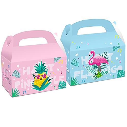 12 piezas Hawaii Flamingo Party Favor Bolsas de regalo Cajas de dulces para niños Fiesta de cumpleaños Baby Shower Suministros Decoraciones