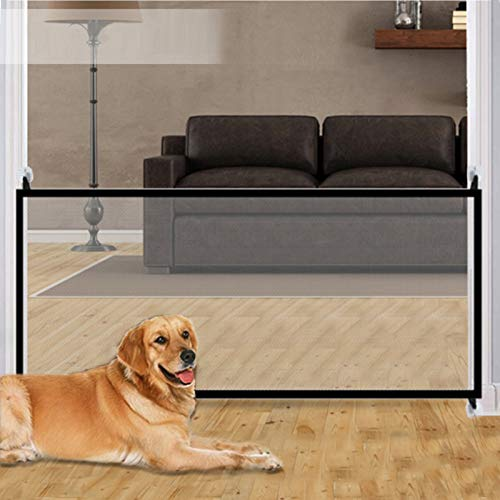 70.9'x28.3' Pet Gate,Baby Gate,Magic Gate Portable Folding mesh gate Safe Guard Isolated ,Indoor and Outdoor Safety Gate Install Anywhere (Black)
