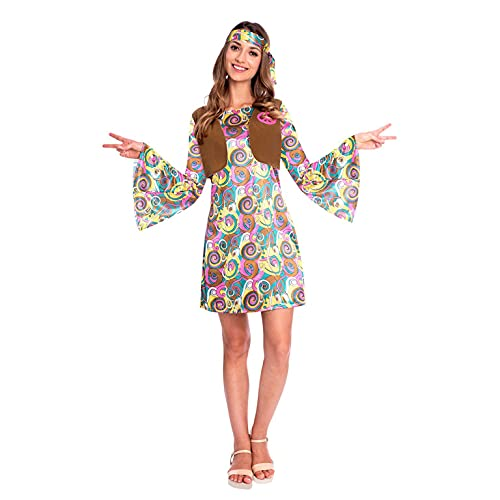 amscan 9906995 - Disfraz de hippie psicodlico para mujer de los aos 60, talla 46-48, multicolor