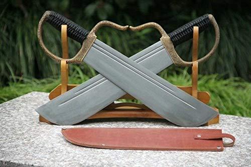 GLW Sword Set Battle Wing Chun Swords Dao Broadsword Sharp Damascus Steel Blade