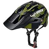 BAT FOX Casco de Bicicleta de montaña para Adultos Casco Ligero de Ciclismo MTB con dial de Ajuste Luz Trasera Casco de Bicicleta (Verde Ejercito, Adulto (58-61 CM))