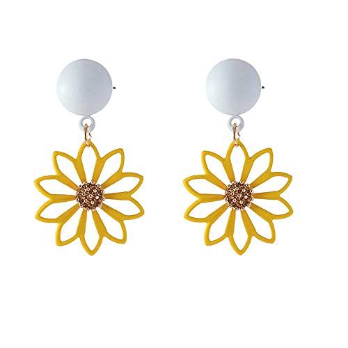 Pendientes de 1 par de pendientes con forma de sirena de cuento de hadas y lágrimas de burbujas chic de cristal transparente para mujer, regalo de joyería (color metálico: amarillo)