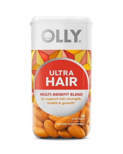 OLLY Hair Ultra Softgels, Supports Healthy Hair Growth, Stronger and Fuller Hair, Biotin, Keratin, Vitamin D, B12, Hair Supplement, 30 Day Supply - 30 Count…