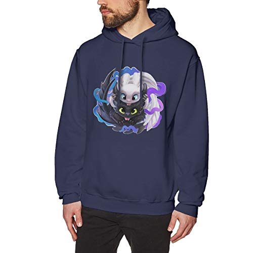 HsHdesign Adult Men's Toothless's Love Classics Hoodie Print Hooded Sweater in 7 Colors Navy
