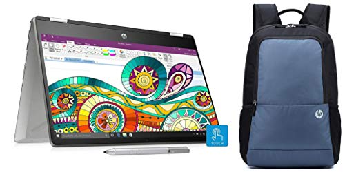 HP Pavilion x360 Core i7 8th Gen 14-inch Touchscreen 2-in-1 FHD Thin and Light Laptop (16GB/512GB SSD/Windows 10/MS Office/2GB Graphics/Mineral Silver/1.59 kg), 14- dh0045TX and Bag Combo