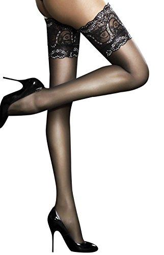 Fiore Sandrine - Bas nylon fin 20 den Autofixants Femme (4, Noir)