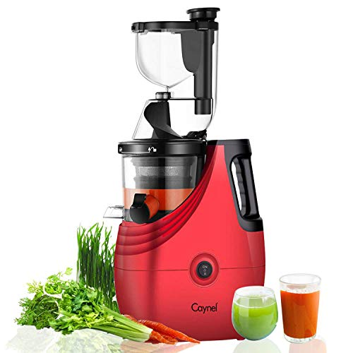 """Caynel Slow Masticating Juice Extractor,Cold Press Juicer Machine with 3"""" Wide Chute for Fruit and Vegetable,High Yield Vertical Juicer,BPA Free (Red)"""