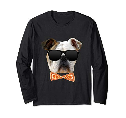 Bulldog in Sunglasses and Pizza Bow Tie Long Sleeve T-Shirt
