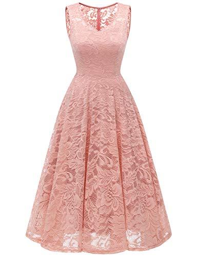 Meetjen Damen Elegant Spitzenkleid V-Ausschnitt Unregelmässig Vokuhila Kleid Festlich Cocktail Abendkleid Midi Blush 2XL