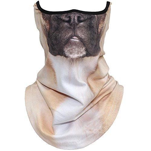 AXBXCX Animal 3D Prints Neck Gaiter Warmer Half Face Mask Scarf Windproof Dust UV Sun Protection for Skiing Snowboarding Snowmobile Halloween Cosplay French Bulldog Pug Dog