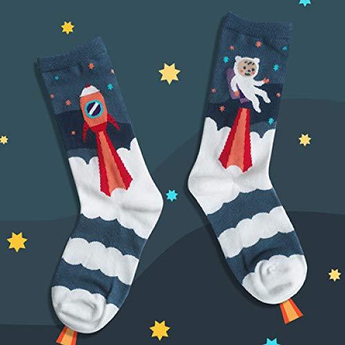 RTESBGH Novelty Sokken, Rocket Novelty Soft Comfy Mode Cartoon Grappig Gekamd Katoen Sokken Unisex Persoonlijkheid Trend Street Skateboard Sokken Kleurrijke Sox (3ps)