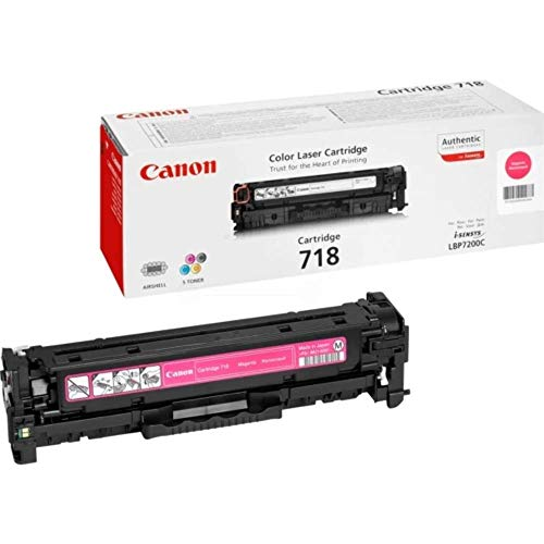 Canon cartucho 718 de tóner original magenta para impresoras láser i-SENSYS LBP7200Cdn,7210Cdn,7660Cdn,7680Cx,MF8330Cdn,8350Cdn,8340Cdn,8360Cdn,8380Cdw,8540Cdn,8550Cdn,8580Cdw,724Cdw,728Cdw,729Cx