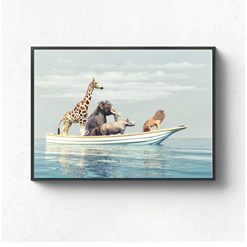 RuiChuangKeJi muurkunst canvas schilderij olifant giraf neushoorn leeuw Nordic poster en afdrukken dieren wandschilderijen kinderkamer decoratie 40x50cm Frameloos