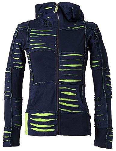 Vishes - Alternative Bekleidung - Damen Patchwork Jacke mit Cutwork und Zipfelkapuze dunkelblau-hellgrün 44