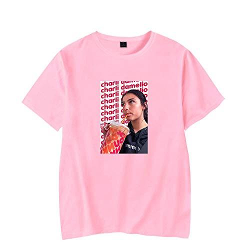 ZYPPX T-shirt Charli Damelio à manches courtes pour femme - Imprimé graphique - Col rond - Décontracté - Pour couple - Rose - XS