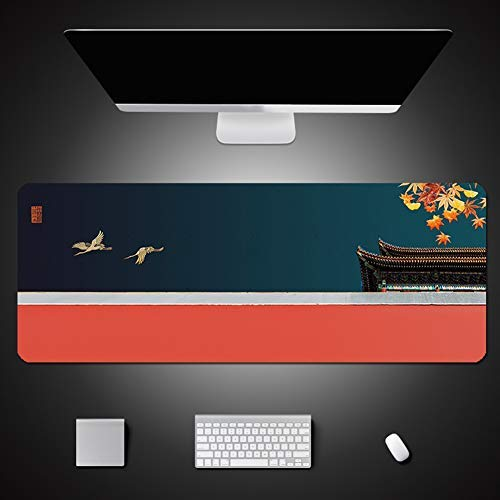 CHUTD Large Office Desk Pad Mouse Pad,Chinese Classical Style,Non-Slip Waterproof Mouse Mat for Computer Keyboard Laptop Gamer 5mm 31.5' x 11.8'