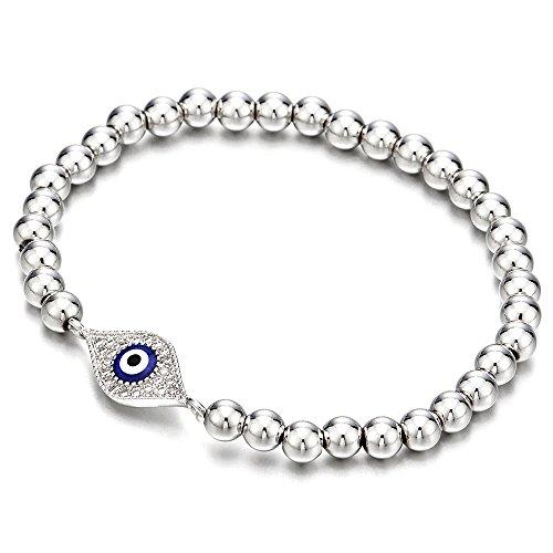 COOLSTEELANDBEYOND Pulsera de Perlas de Mujer Hombre Niñas, Pulsera del Encanto, Brazalete con Zirconio Cúbico Protección Mal de Ojo