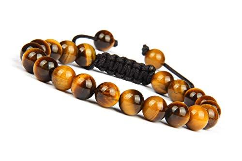Good.Designs ® Herren Armband aus echten Tigerperlen (Shamballa) Perlenarmband geflochten mit Tigerstein Tigerperle Tigerauge Tigerperlenarmband
