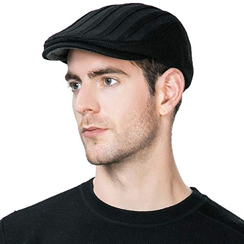 Jeff & Aimy Mens Newsboy Cap Winter Fitted Hat Hunting Wool Irish Ivy Flat Cap Warm Gatsby Hat for Guys Black